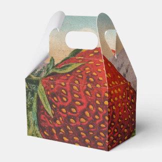 Fruta fresca de las fresas rojas del vintage caja para regalo de boda