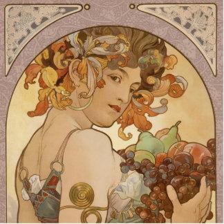 Fruta hermosa de la mujer de Nouveau Mucha del Fotoescultura Vertical