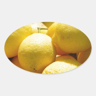 Fruta: Limones Pegatina Óval