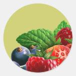 Fruta mezclada etiqueta redonda