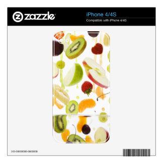 Fruta mezclada fresca con la manzana y el zumo de calcomanías para el iPhone 4