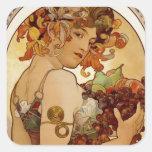 Fruta - otoño 1897 calcomanía cuadrada