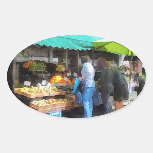 Fruta para la venta Hoboken NJ Pegatina Ovalada