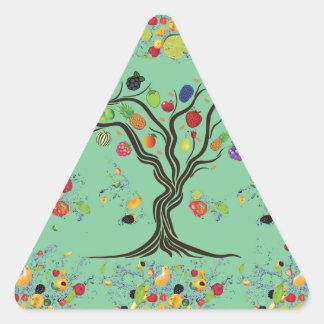 Fruta por completo pegatina triangular