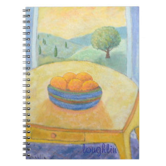Fruta por el cuaderno de la ventana