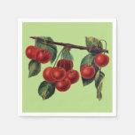 Fruta roja bonita del verano de la rama de las servilletas de papel
