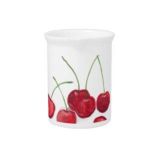 Fruta roja de las cerezas jarras de beber