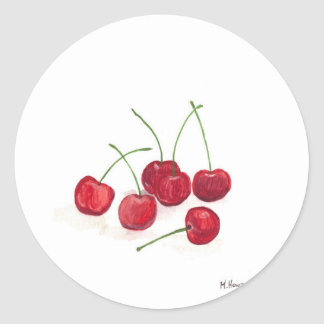Fruta roja de las cerezas etiquetas redondas
