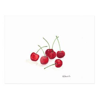 Fruta roja de las cerezas postales