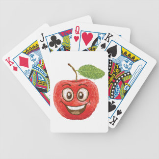 fruta roja feliz de la manzana baraja