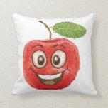 fruta roja feliz de la manzana cojin