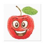 fruta roja feliz de la manzana lienzo envuelto para galerías