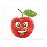 fruta roja feliz de la manzana postal