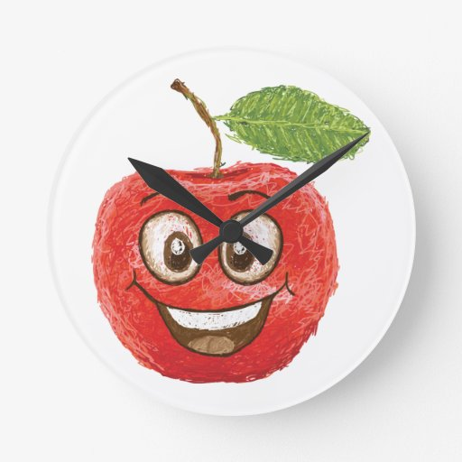 fruta roja feliz de la manzana relojes
