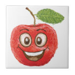 fruta roja feliz de la manzana teja