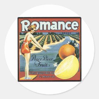 Fruta romántica de Peace River de la marca Pegatina Redonda