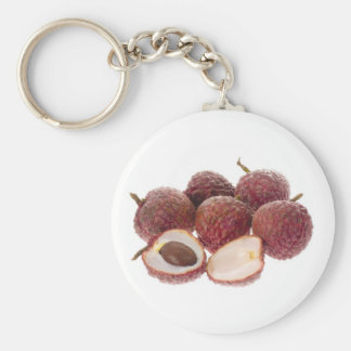 Fruta tropical - lichíes llavero redondo tipo pin