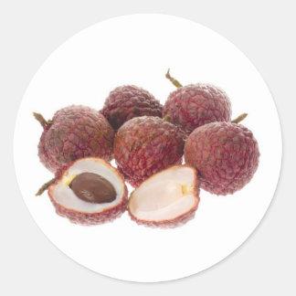 Fruta tropical - lichíes pegatina redonda