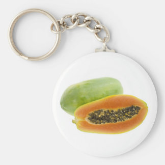 Fruta tropical - papaya llavero redondo tipo pin