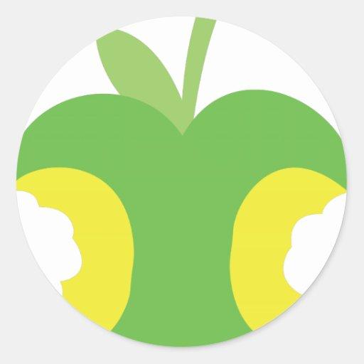Fruta verde dos veces mordida de la manzana pegatina redonda