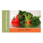 Fruta - verdura en tarjetas de visita del agua