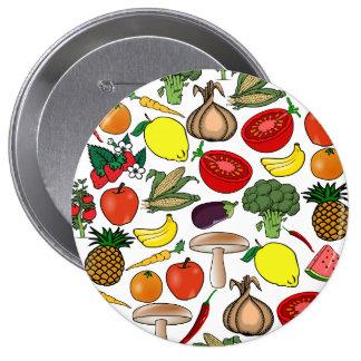 Fruta y botón de los veggies, enorme pins