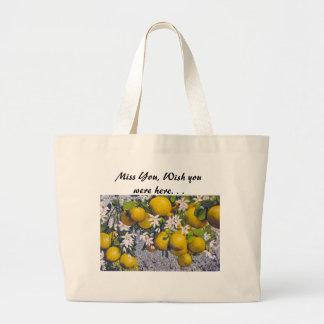 Fruta y flores de la uva en la Florida Bolsa Tela Grande