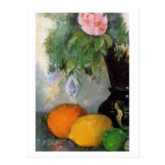 Fruta y flores de Paul Cezanne Tarjetas Postales