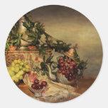 Fruta y flores etiquetas redondas