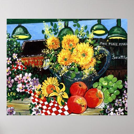 Fruta y flores poster