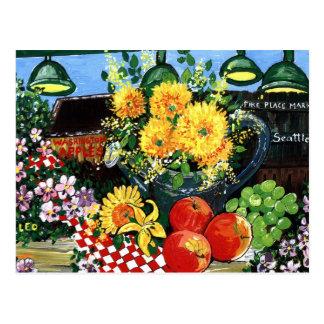 Fruta y flores postal