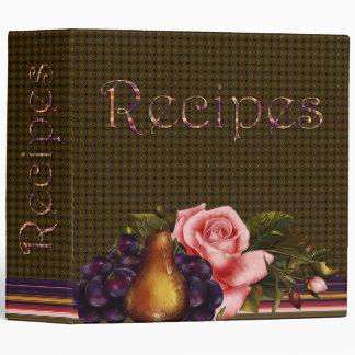 Fruta y libro de la receta de los rosas