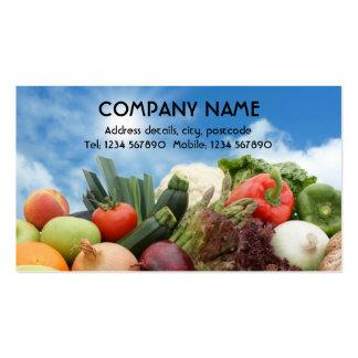 Fruta y tarjeta de visita de las verduras