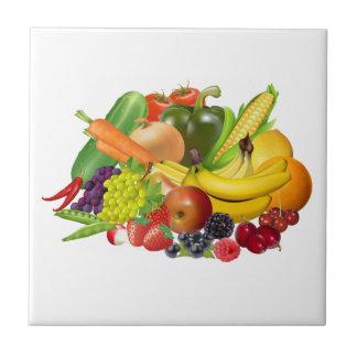 Fruta y teja o trivet bonita de la cocina de las v