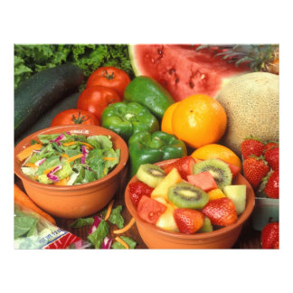 Fruta y verduras frescas tarjetas informativas