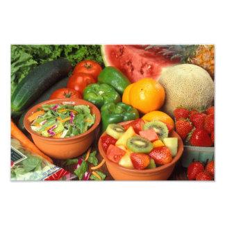 Fruta y verduras frescas arte con fotos