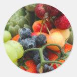 Fruta y verduras pegatinas redondas