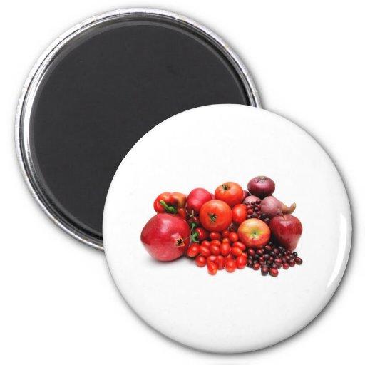 Fruta y verduras rojas imán de frigorífico