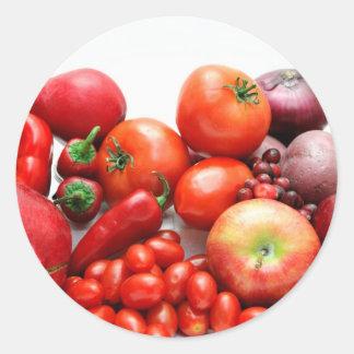 Fruta y verduras rojas pegatinas