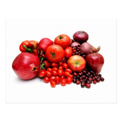 Fruta y verduras rojas postal