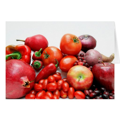 Fruta y verduras rojas tarjeta de felicitación