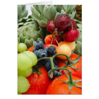 Fruta y verduras tarjeta