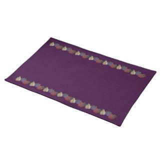 Frutas bordadas (púrpuras) mantel individual