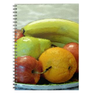 Frutas coloridas bandeja, naranja, manzana, pera, libro de apuntes