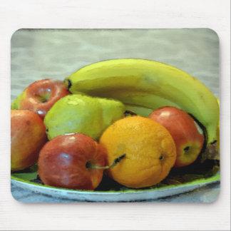 Frutas coloridas bandeja, naranja, manzana, pera, alfombrilla de ratón