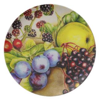 Frutas de la placa de la bella arte del seto platos de comidas