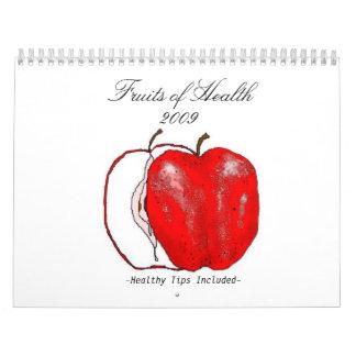 Frutas de la salud (extremidades sanas incluidas) calendarios de pared