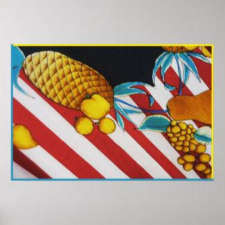 Frutas de la serigrafía póster
