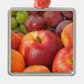 Frutas frescas adorno navideño cuadrado de metal