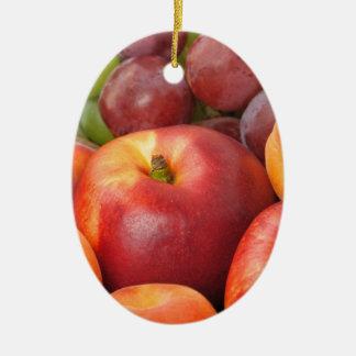 Frutas frescas adorno navideño ovalado de cerámica